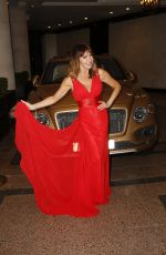 Lizzie Cundy On her way to the Ricco Lounge & Club, 11 Russell Gardens in Red evening dress, at Kensington in London