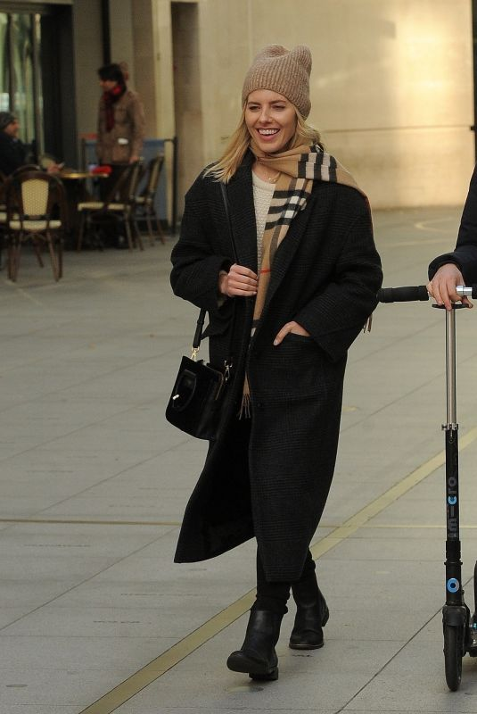Mollie King and British television presenter Matt Edmondson seen leaving BBC Radio One Studios In London
