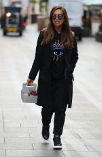 Myleene Klass Pictured during her Christmas holiday leaving Smooth Radio