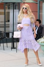 Paris Hilton and puppy chihuahua look striking driving her new electric car in Beverly Hills