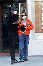 Rita Ora Seen heading to a medical building in Beverly hills and leaving wearing a face mask