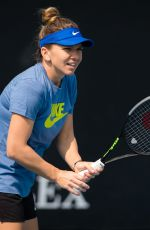 Simona Halep Practises during the 2020 Australian Open at Melbourne Park