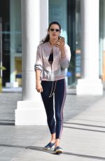 Alessandra Ambrosio Grabs a salad and a cold drink after exercise in Santa Monica