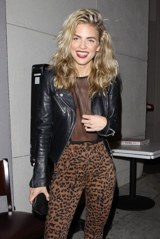 AnnaLynne McCord Posing for pictures as she finishes dinner with a male friend at Craig