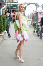 Anya Taylor-Joy Looks stylish in a Celia Kritharioti dress while heading to the Live With Kelly and Ryan in New York City