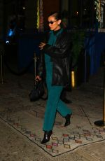 Bella Hadid Looks stunning in a teal emsemble for a NYFW after-party in New York