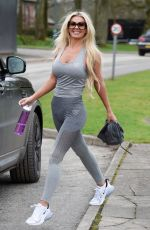 Christine McGuinness Looking in great shape as she is seen leaving the gym in Cheshire