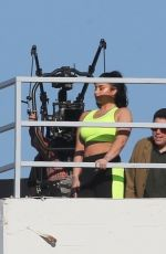 Demi Lovato Models activewear during a rooftop photoshoot ad campaign in Los Angeles