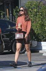 Eiza Gonzalez In tiger stripes and sporty bike shorts while out grabbing food at Sweet Butter Kitchen