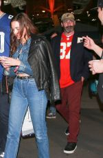 Eiza Gonzalez, Jeremy Renner, and Jon Hamm are seen leaving Super Bowl 2020