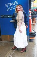 Elizabeth Moss Arriving at GMA under the rain in New York