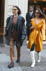 Emily Ratajkowski and Bella Hadid flaunt their fashionable fits while visiting Fondazione Prada exhibition in Milan