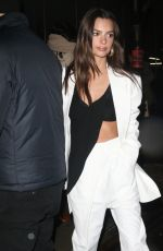 Emily Ratajkowski In black and white as she arrives at the Proenza Schouler Fall 2020 Show in New York