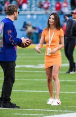 Emily Ratajkowski On the field before Super Bowl LIV in Miami
