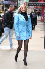 Erika Jayne Braves the NYC cold in a powder blue blazer at Good Morning America