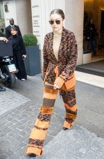Gigi Hadid Seen leaving her hotel during the Milan Fashion Week in Milan