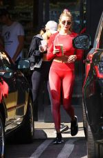 Hailey Bieber Getting some juice after a workout in Hollywood