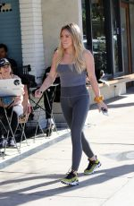 Hilary Duff Out in a tight grey outfit