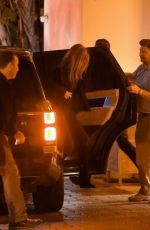 Jennifer Aniston Arrives at the valet with security for her 51st birthday party at the Sunset Tower Hotel in Los Angeles