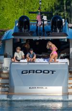 Josie Canseco Showing off her curves in a pink bikini during boat day in Miami