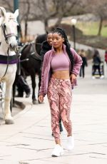 Keke Palmer Spotted in Old Navy Powersoft activewear while working out in Central Park