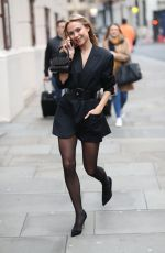 Kimberley Garner Makes leggy arrival at London Fashion Week in London