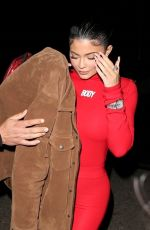 Kylie Jenner Arrives in a red Body jumpsuit at The Nice Guy in West Hollywood