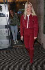 Louisa Johnson Rocks in red with suede knee boots at BBC studios in London