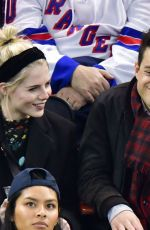 Lucy Boynton & Rami Malek At San Jose Sharks v New York Rangers game in New York City
