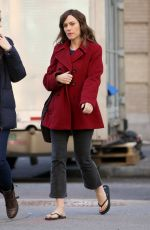 Maggie Siff Walks to Spring Studios in flip flops for a promotional shoot for the TV series