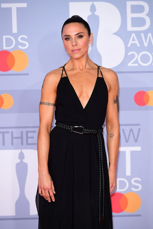 Melanie C Arriving at the Brit Awards 2020 held at the O2 Arena, London