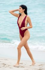 Nicole Williams In a one piece bathing suit ahead of her Ocean Drive Magazine cover party in Miami