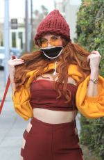 Phoebe Price Poses for photos while out walking her dog in Beverly Hills