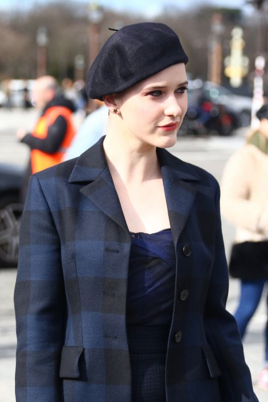 Rachel Brosnahan Arrives at the Dior show during PFW in Paris