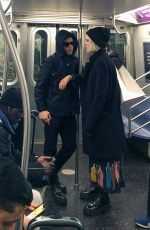Rami Malek & Lucy Boynton Ride the NYC Subway after doing some shopping in Manhattan