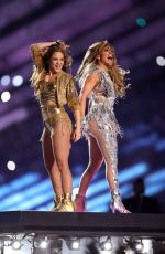 Shakira & Jennifer Lopez At Super Bowl LIV Halftime Show at Hard Rock Stadium in Miami