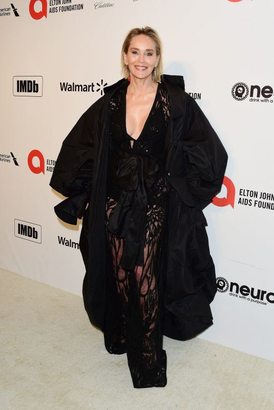 Sharon Stone At Elton John AIDS Foundation Oscar Viewing Party, Los Angeles