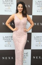 Sunny Leone Arrives at a PETA India event during day 3 of the Lakme Fashion week in Mumbai