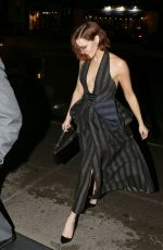 Zoey Deutch Flashes her cleavage in a fashionable dress while returning back to her hotel in New York City
