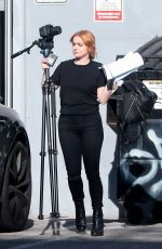 Ariel Winter Picking up camera equipment from a studio in LA