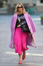 Ashley Roberts In pink bubble gum skirt and a graphic printed t-shirt while leaving Heart Radio Show in London