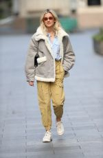 Ashley Roberts Pictured leaving Heart Radio show in khaki trousers in London