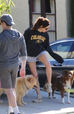 Aubrey Plaza Gets some fresh air and walks her dogs through her LA neighborhood
