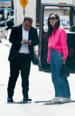 Cara Santana Sports a bright pink sweater and jeans as she arrives at the San Vicente Bungalows for lunch