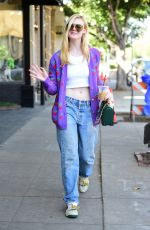 Elle Fanning Enjoys an iced coffee in LA