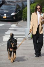 Emily Ratajkowski Walking her dog while looking great in New York