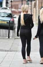 Eve Gale and Jess Gale seen walking to there local shops to get essentials during the coronavirus lockdown
