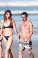 Gisele Bundchen On a Morning walk on the beach in Costa Rica