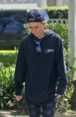 Jennifer Meyer Goes make-up free to get some exercise during the Coronavirus pandemic by taking a stroll around her Brentwood