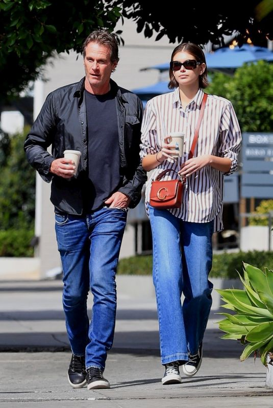Kaia Gerber and father Rande bond over a cup of coffee at Blue Bottle Coffee in West Hollywood